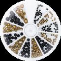 Slika izdelka Kamenčki v kolesu zlate in črne barve 270 kom